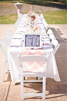 pink chevron table cloth for wedding table decor