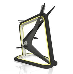 Sculptural mobile/tablet integrated LED exercise bicycle.