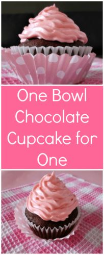 Satisfy your chocolate craving with this one bowl chocolate cupcake for one recipe. In just 30 minutes, you could be devouring a rich, chocolatey cupcake!
