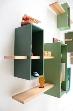 Original Mid Century Modern Bookcases: Green And Blue Wooden Wall Bookcase...