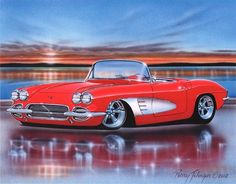 1961 Chevy Corvette Classic Car Art Print 11x14 61