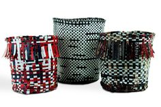 Recycled billboard vinyl strips   Handwoven into baskets   Dyrt Design   A New…