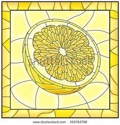 Vector yellow illustration of fruit half of lemon stained glass window with frame.