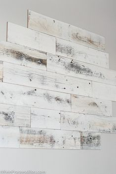 How to install a reclaimed wood wall - peel and stick reclaimed wood planks Wood Plank Walls, Wood Planks, Wood Paneling, White Wood Walls, Laminate Flooring On Walls, Peel And Stick Shiplap, Peel And Stick Wood, Reclaimed Wood Accent Wall, Distressed Wood Wall