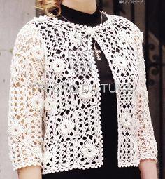 TRI CRO DA TUKA: casaco/crochê   White Crochet blouses,vest,tunica ...