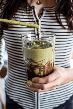 Vanilla Almond Matcha and Chocolate Lava Shake   halfbakedharvest.com @hbharvest