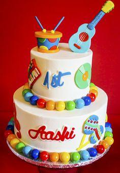 Baby Jam: A Music Inspired 1st Birthday Party Cake - BirdsParty.com