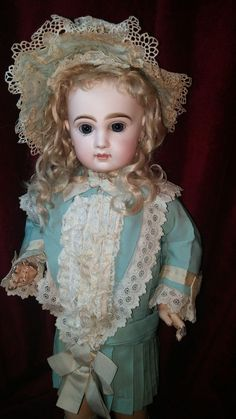 French Bisque Bebe by Emile Jumeau with Original Costume and Signed Shoes From French Museum
