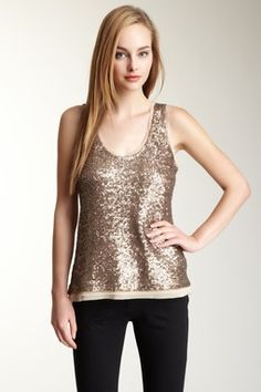 Sequin Sheer Trim Tank. this tank with the other sequin leggings.