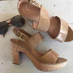 """I just discovered this while shopping on Poshmark: /Franco Sarto/ """"frank""""cork sandal/ platform heels. Check it out! Price: $40 Size: 9"""