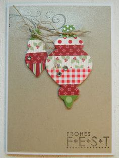 Use your framelits on DSP!    not just for matching stamps.   made by sannshine  - Christmas ornament SU