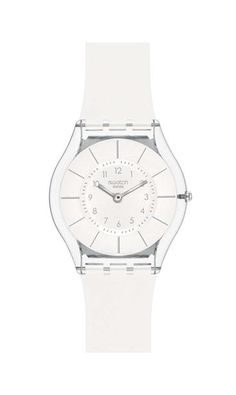 b449381ee19 Swatch Unisex Skin White Resin Quartz Watch with White Dial