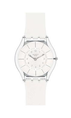 526e58adbb2 Swatch Unisex Skin White Resin Quartz Watch with White Dial