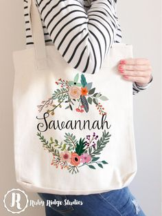 Personalised Name Floral Wreath Tote Bag by RubyRidgeStudios
