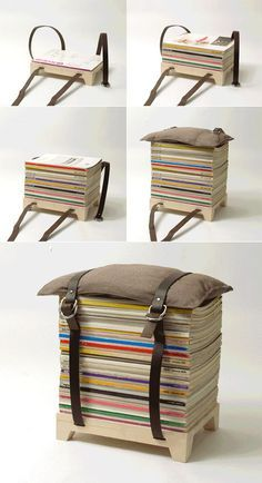 """Nju Studio's Nifty """"Collect, Stack, Set"""" Stool - - Finally, a way to store those magazines. DIY for Men MonDIY for Men DIY Guy Crafts - Diy Furniture Table, Furniture Design, Man Crafts, Diy For Men, Ideias Diy, Old Magazines, Diy Home Decor, Diy Projects, House Design"""