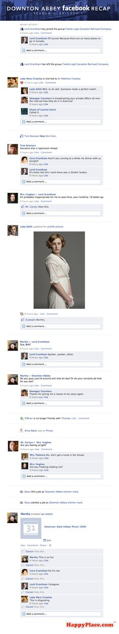 If this past Sunday's Downton Abbey took place entirely on Facebook.  ...I wish there was one of these for every episode!