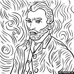 free coloring page of Vincent Van Gogh painting - Self Portrait. - free coloring page of Vincent Van Gogh painting – Self Portrait. You be the master painter! Van Gogh Drawings, Van Gogh Paintings, Easy Paintings, Vincent Van Gogh, Desenhos Van Gogh, Van Gogh Self Portrait, Self Portrait Drawing, Van Gogh Art, Art Plastique