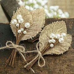 Rustic Burlap Leaf and Pearl Berry Boutonnieres - Corsage + Boutonniere Supplies - Floral Supplies - Craft Supplies Burlap Lace, Burlap Flowers, Diy Flowers, Burlap Wreath, Fabric Flowers, Paper Flowers, Lace Ribbon, Summer Flowers, Burlap Corsage