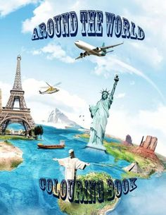 Around the world: Around the world colouring book for kids. This educational book is on countries of