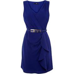 Oasis Sexy v neck dress (€74) ❤ liked on Polyvore featuring dresses, vestidos, blue, women, vneck dress, sexy day dresses, v neck dress, oasis dress and blue dress