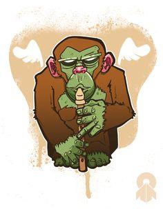 The Monkey Troop and a Shark by Marc Machina, via Behance
