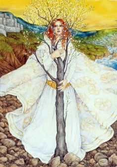 """Here is my Brighid! She is known as the Goddess Who liived,"""" because she made it through the Christian Insurrection with all of her sacred items intact. Brigid is the Goddess of poetry, healing and the ford, which is a metaphor for inspiration. Celtic Goddess, Celtic Mythology, Goddess Art, Religion, St Brigid, Triple Goddess, Sacred Feminine, Divine Feminine, Celtic Art"""