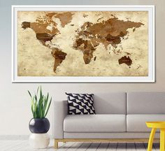 World Push Pin Travel Map In Wood Frame X Track Etsy - Travel wall map with pins