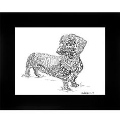 Pen + ink drawing filled with custom words about you + your dog...a true keepsake!