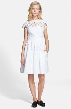 Carven+Cap+Sleeve+Cotton+Dress+available+at+#Nordstrom