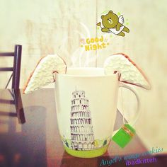 Madame's Kitchen: How To Make Angel's Wings Cookies Hanging In Your Cup/Mug/Glass --using heart cutter