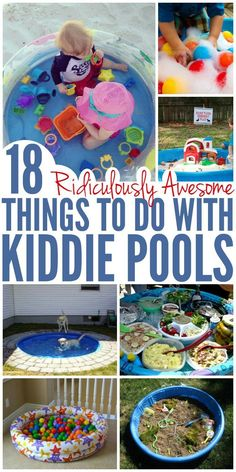 18 Ridiculously Awesome Things to Do with a Kiddie Pool – Glue Sticks and Gumdrops Have your children outgrown the kiddie pool? Not sure what to do with one that's worn out? Try these kiddie pool hacks and diys to get even more use out of it! Summer Activities For Kids, Summer Kids, Diy For Kids, Outdoor Fun For Kids, Summer Baby, Outdoor Play Areas, Hacks For Kids, 10 Month Old Baby Activities, Toddler Learning Activities
