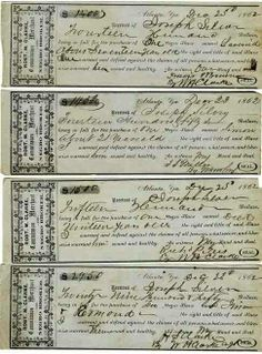 Receipts for a slave purchase. After Slaves were sold the buyers would be given tickets and allowed to get their Slave.