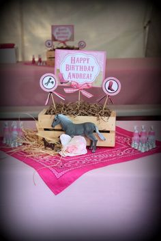 Cowgirl Birthday Party Birthday Party Ideas is part of - Cowgirl Birthday Party Photo Gallery at Catch My Party Horse Theme Birthday Party, Cowboy Theme Party, Rodeo Birthday, Horse Party, Farm Birthday, Farm Party, 6th Birthday Parties, Birthday Party Decorations, Cowgirl Party Centerpieces