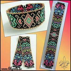 Armband i Peyote, 2300 pärlor ditsydda 1 och 1. Pattern Julie Ann Smith. #armband #smycken #pärlor #delicabeads #peyotestitch #handgjordasmycken #handgjort #bracelets #bracelet #jewelry #handmade #beads Beaded Bracelet Patterns, Bead Loom Patterns, Peyote Patterns, Jewelry Patterns, Beading Patterns, Beaded Jewelry, Beaded Bracelets, Succulent Plants, Fantasy