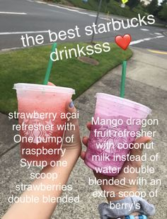try it outtttt the best starbucks drinks Starbucks secret menu try it out Starbucks Hacks, Starbucks Frappuccino, Starbucks Secret Menu Items, Secret Starbucks Recipes, Bebidas Do Starbucks, Starbucks Secret Menu Drinks, How To Order Starbucks, Starbucks Refreshers, Starbucks Smoothie