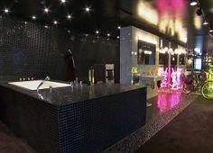 Black Tiled Glamourous Bathroom via ArchDeco.Net