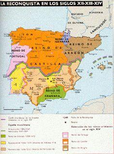 Biblioteca de Alejandría 3.0: 2º ESO Mapas de la RECONQUISTA Spain History, European History, World History, Art History, Middle Ages History, Map Of Spain, States And Capitals, Bible Mapping, Geography Map