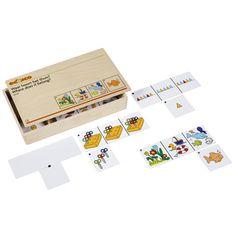 --- waar hoort het thuis --- Spel ter bevordering van de visuele waarneming, het classificeren en het reken-denken waarbij de kinderen bij één van de afbeeldingen op de opdrachtkaart een passend kaartje zoeken. Met zelfcontrole.  Inhoud:  18 kunststof opdrachtkaarten (in 3 niveaus), 18 losse kaartjes.  Formaat kist: 34 x 20 x 6 cm (l x b x h). 523 120