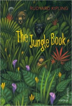 The jungle book by Rudyard Kipling. When Mowgli is discovered in the jungle by wolves, they bring him up as one of their own. However, the jungle is not always easy for a man-cub and Mowgli must learn its secrets from Baloo the bear, Bagheera the panther and Kaa the python, especially if he is to avoid the Monkey-People and the evil tiger, Shere Khan.