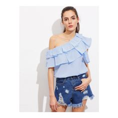 ffe8524c1986f9 Shop Asymmetrical Off Shoulder Layered Frill Trim Striped Top online. SHEIN  offers Asymmetrical Off Shoulder Layered Frill Trim Striped Top   more to  fit ...