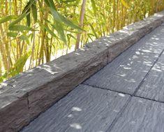 Bordure de terrasse grise Outdoor Furniture, Outdoor Decor, Lawn, Sidewalk, Wood, Plants, Leroy Merlin, Atrium, Dimensions