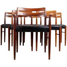 Set of Six Dining Chairs by H W Klein for Bramin   From a unique collection of antique and modern dining room chairs at https://www.1stdibs.com/furniture/seating/dining-room-chairs/