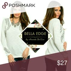 White studded long sleeve sweater top 54% COTTON 46% POLYESTER. Silver studs in square, round, and oval adorned over sides and sleeves. Size small to medium Bella Edge Boutique Tops Tees - Long Sleeve