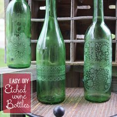 Love this wine bottle craft! Martha Stewart Etched Wine Bottle Upcycle #marthastewartcrafts @savedbyloves