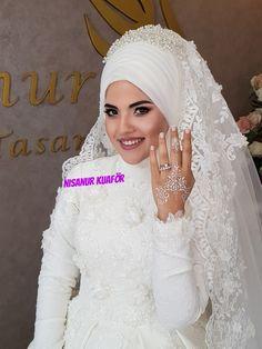Bridal Hijab Styles, Wedding Bride, Wedding Ideas, Muslim Wedding Dresses, Bride Accessories, Hijab Fashion, Evening Dresses, Couples, Haute Couture