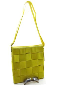 Olive green Polyweave Bag with checkerboard woven polyester belts. Wholesale Handbags, Olive Green, Belts, Essentials, Things To Come, Shoulder Bag, Collection, Style, Fashion