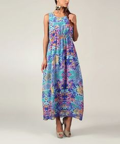 Take a look at this Purple & Blue Tropical Sleeveless Maxi by Kushi by Jasko on #zulily today!