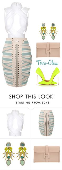"""She Stands Out!"" by terra-glam ❤ liked on Polyvore featuring Dion Lee, Marina Hoermanseder, Elizabeth Cole, Hermès and Christian Louboutin"