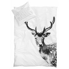 ANIMAL PHOTO PRINT BED LINNEN  Deer  Texture on pillow - danish/english BY NORD