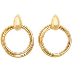 Pre-owned 1980s Cartier Paris Gold Triple Loop Ear Clips ($9,550) ❤ liked on Polyvore featuring jewelry, earrings, hoop earrings, yellow gold earrings, 18 karat gold jewelry, 18k yellow gold earrings and two tone earrings